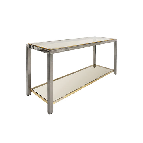 ROMEO REGA BRASS AND CHROME TWO TIER CONSOLE - Flair Home Collection