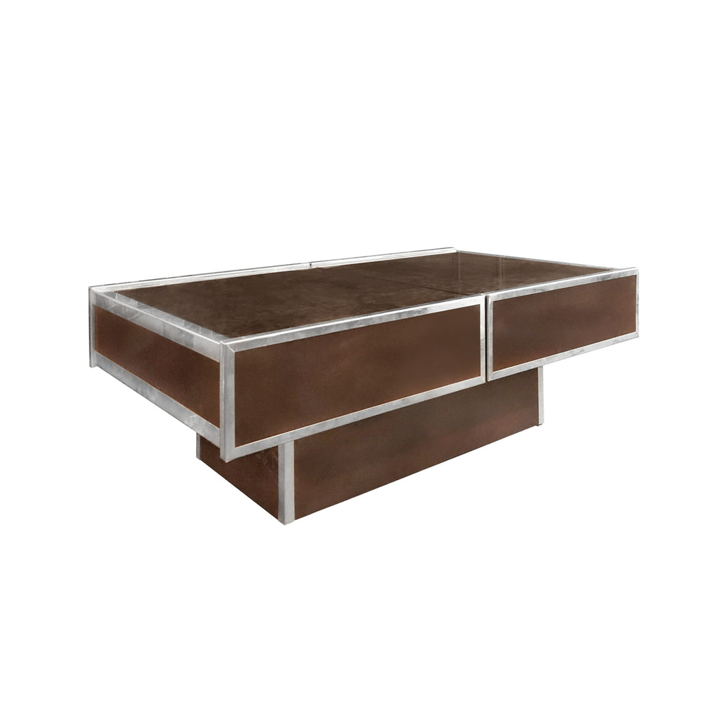 VINTAGE RECTANGULAR CHROME AND ANTIQUED BROWN GLASS COFFEE TABLE WITH CONCEALED BAR STORAGE - Flair Home Collection