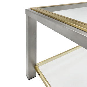 ROMEO REGA BRASS AND CHROME TWO TIERED SIDE TABLE - Flair Home Collection