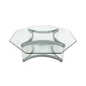 VINTAGE OCTAGONAL CHROME AND LUCITE COFFEE TABLE BY ALESSANDRO ALBRIZZI - Flair Home Collection
