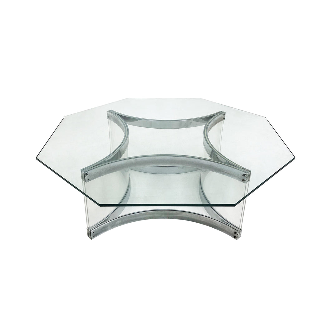ALESSANDRO ALBRIZZI OCTAGONAL CHROME AND LUCITE COFFEE TABLE - Flair Home Collection