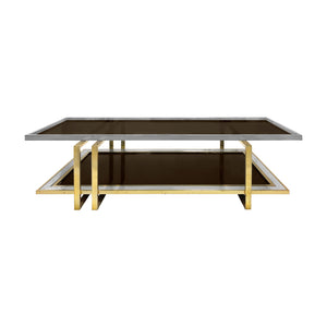 VINTAGE TWO TIER BRASS AND NICKEL COFFEE TABLE - Flair Home Collection