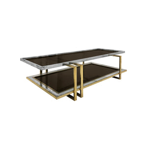 TWO TIER BRASS AND NICKEL COFFEE TABLE - Flair Home Collection