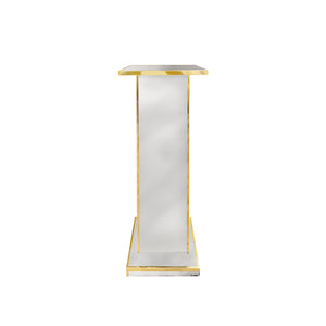 BRASS AND MIRRORED GLASS PEDESTAL - Flair Home Collection