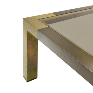 RECTANGULAR TWO TONE BRONZE COFFEE TABLE WITH SMOKED GLASS TOP BY WILLY RIZZO - Flair Home Collection