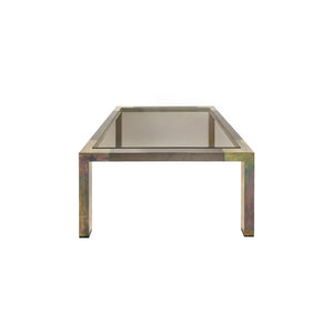 SQUARE TWO TONE BRONZE SIDE TABLE WITH SMOKED GLASS TOP BY WILLY RIZZO - Flair Home Collection