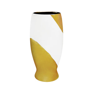SPLAYED BASE ALABASTER GLAZE CERAMIC VASE WITH 22K GOLD GLAZE SWIRL STRIPE AND INTERIOR - Flair Home Collection
