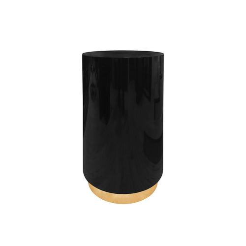 ROUND BLACK PEDESTAL ON BRASS BASE - Flair Home Collection