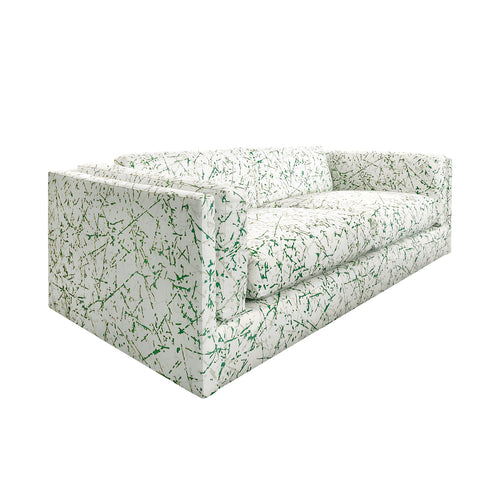 VINTAGE HARVEY PROBBER SOFA IN GREEN SPLATTER UPHOLSTERY - Flair Home Collection