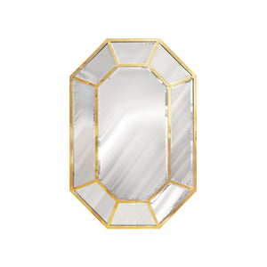 VINTAGE OCTAGONAL BRASS AND BEVELED GLASS MIRROR BY LA BARGE - Flair Home Collection