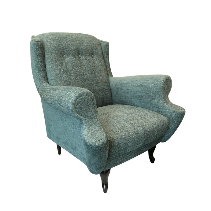FRENCH BUTTON BACK ROLL ARM LOUNGE CHAIR IN MINT CHENILLE - Flair Home Collection