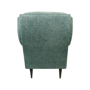 VINTAGE BUTTON BACK LOUNGE CHAIR WITH ROLLED ARMS IN MINT CHENILLE - Flair Home Collection