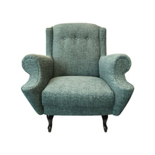 Load image into Gallery viewer, FRENCH BUTTON BACK ROLL ARM LOUNGE CHAIR IN MINT CHENILLE - Flair Home Collection