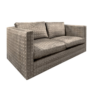 CHARLES PFISTER FOR KNOLL SOFA IN GEOMETRIC CUT VELVET - Flair Home Collection