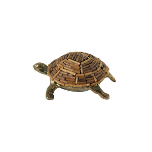 VINTAGE BRASS AND BAMBOO TURTLE FIGURINE - Flair Home Collection