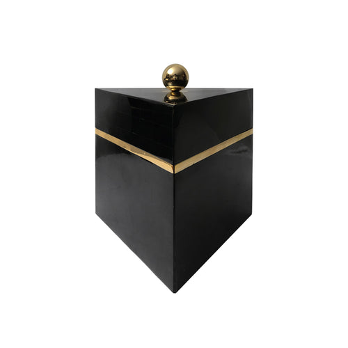 LARGE TRIANGULAR BLACK PEN SHELL BOX - Flair Home Collection