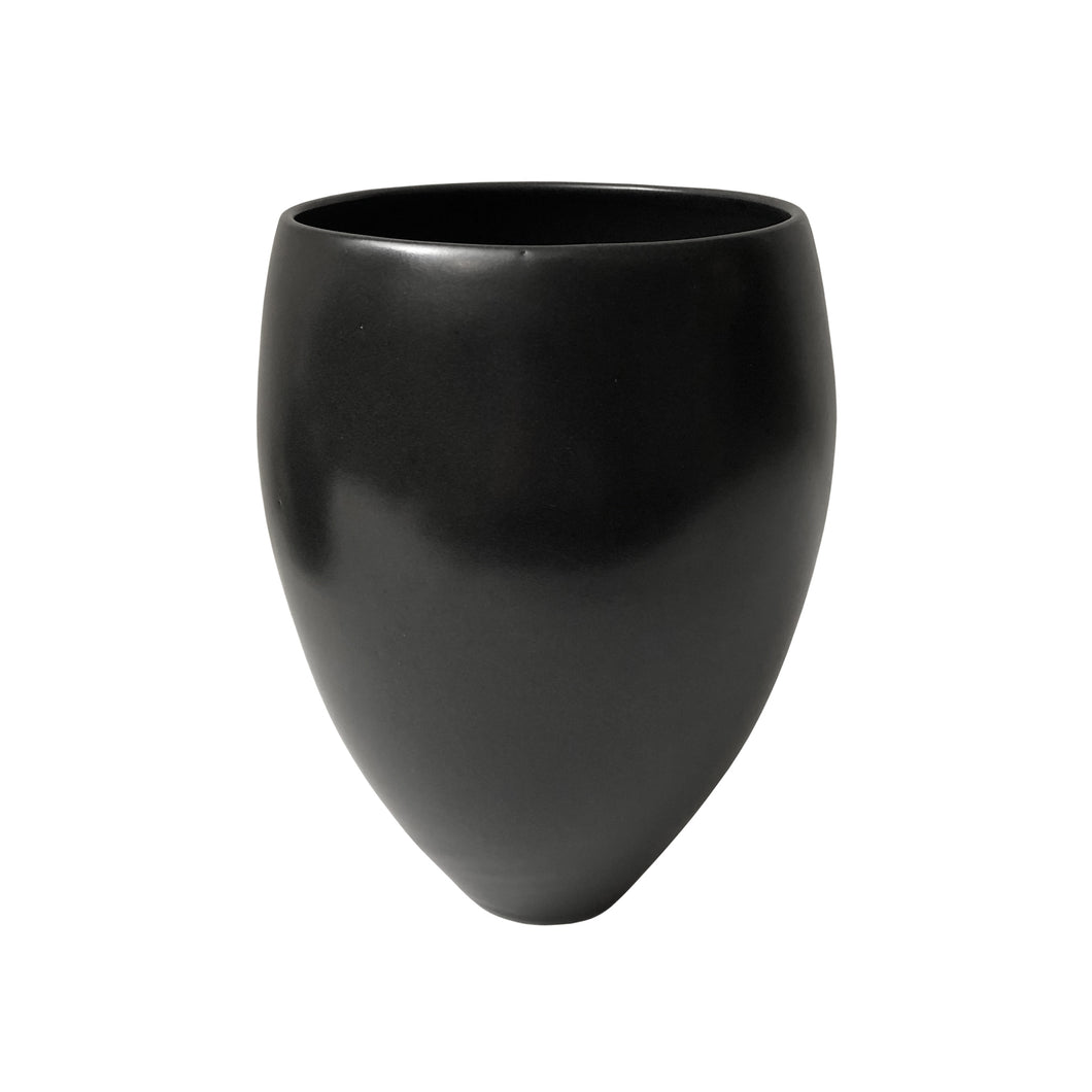CURVED CERAMIC VASE WITH BLACK LUSTER GLAZE AND POINTED BASE - Flair Home Collection