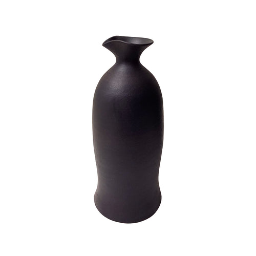 MEDIUM FLARED BASE CERAMIC BOTTLE VASE WITH MATTE BLACK GLAZE AND LARGE SPOUT NECK - Flair Home Collection