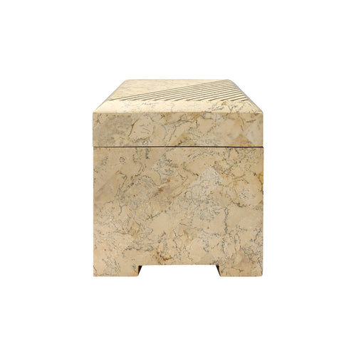VINTAGE SQUARE MAITLAND SMITH TESSELLATED STONE BOX WITH BRASS INLAY - Flair Home Collection