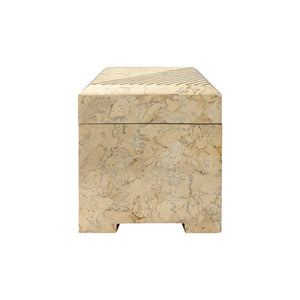 SQUARE MAITLAND SMITH TESSELLATED STONE BOX WITH BRASS INLAY - Flair Home Collection