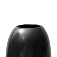 Load image into Gallery viewer, TALL CERAMIC POINTED BASE RIPPLE VASE WITH BLACK LUSTRE GLAZE - Flair Home Collection