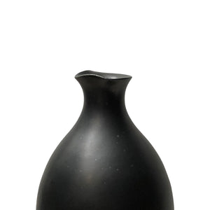 CERAMIC BOTTLE VASE WITH BLACK LUSTRE GLAZE AND SPOUT NECK - Flair Home Collection