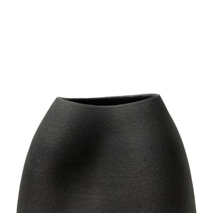 TALL CERAMIC DENT VASE WITH MATTE BLACK GLAZE - Flair Home Collection