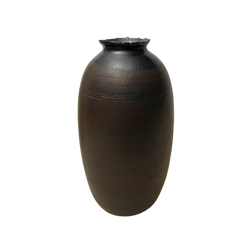 CERAMIC VASE WITH RUST GLAZE AND JAGGED BLACK LUSTRE LIP - Flair Home Collection