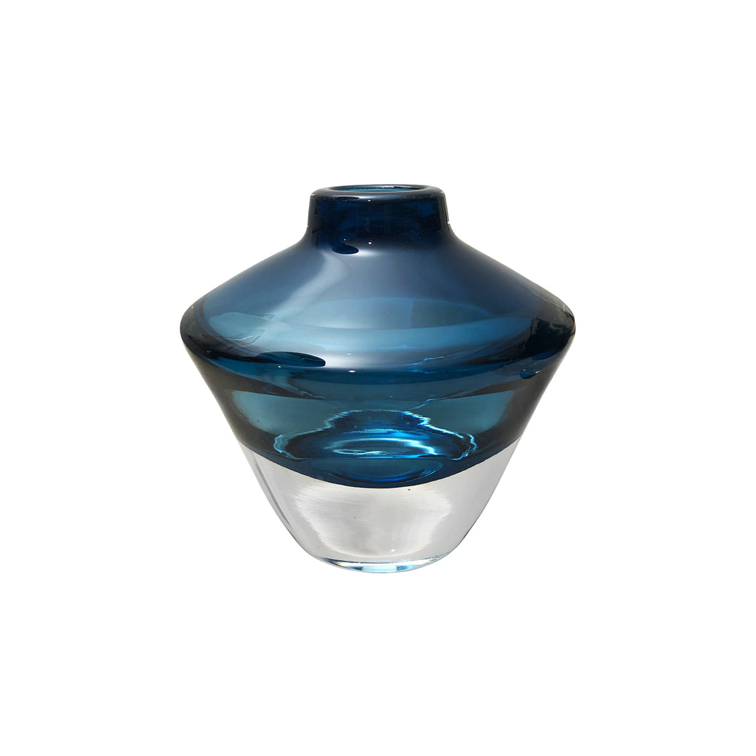 LOW HANDBLOWN GHEATA VASE IN BLUE - Flair Home Collection
