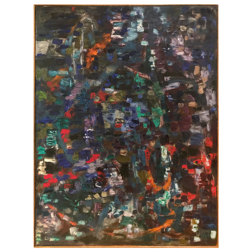 LARGE VINTAGE MULTICOLORED ABSTRACT OIL PAINTING ON CANVAS - Flair Home Collection