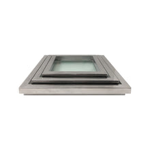 Load image into Gallery viewer, SQUARE CHROME AND GLASS NESTING TRAYS - Flair Home Collection