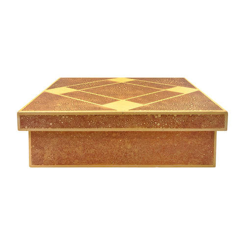 VINTAGE RECTANGULAR LACQUERED BOX WITH DIAMOND PATTERNED LID - Flair Home Collection