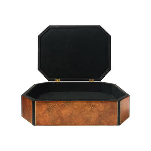 VINTAGE POLISHED CORAL STONE CUT CORNER BOX WITH HINGED LID - Flair Home Collection