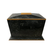 Load image into Gallery viewer, MAITLAND SMITH BLACK TESSELLATED STONE BOX WITH BRASS TRIM - Flair Home Collection