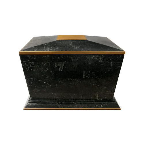 VINTAGE MAITLAND SMITH BLACK TESSELLATED STONE BOX WITH BRASS TRIM - Flair Home Collection