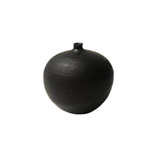 SMALL ROUND BLACK GLAZE CERAMIC VASE WITH RUST GLAZE BAND - Flair Home Collection