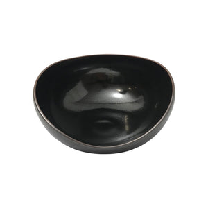 ASYMMENTRICAL CURVED BLACK CERAMIC BOWL WITH GALACTIC GLAZE INTERIOR - Flair Home Collection