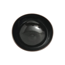 Load image into Gallery viewer, ASYMMENTRICAL CURVED BLACK CERAMIC BOWL WITH GALACTIC GLAZE INTERIOR - Flair Home Collection