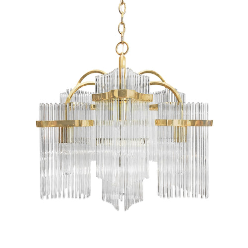 CAMER BRASS AND GLASS ROD CHANDELIER - Flair Home Collection