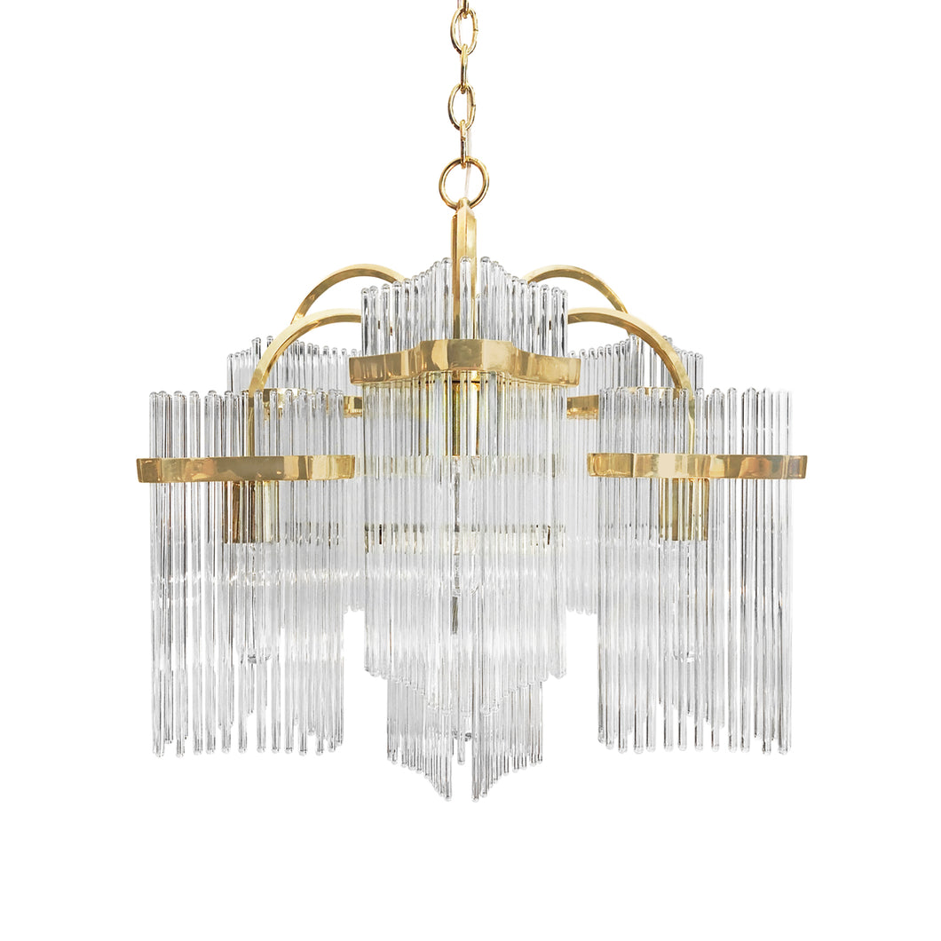 VINTAGE CAMER BRASS AND GLASS ROD CHANDELIER - Flair Home Collection