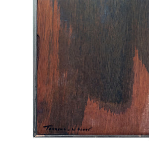 MODERNIST ABSTRACT PAINTING WITH OIL AND WASH DESIGN ON WOOD BY EUGENI TORRENS - Flair Home Collection