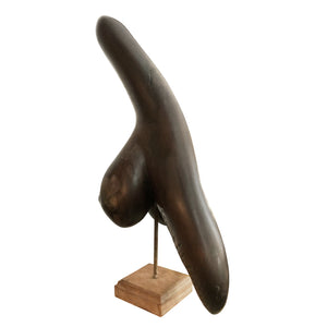 MODERNIST CARVED WOOD SCULPTURE ON SQUARE BASE - Flair Home Collection