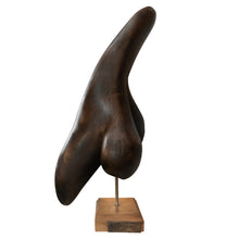 Load image into Gallery viewer, MODERNIST CARVED WOOD SCULPTURE ON SQUARE BASE - Flair Home Collection
