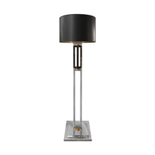 Load image into Gallery viewer, VINTAGE GUNMETAL AND CHROME DOUBLE COLUMN FLOOR LAMP WITH BRASS DETAIL - Flair Home Collection