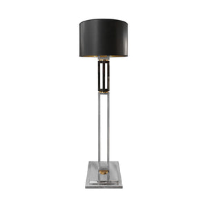 VINTAGE GUNMETAL AND CHROME DOUBLE COLUMN FLOOR LAMP WITH BRASS DETAIL - Flair Home Collection