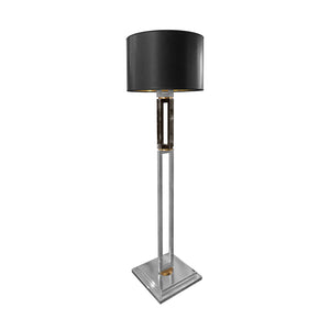 GUNMETAL AND CHROME COLUMN FLOOR LAMP WITH BRASS DETAIL - Flair Home Collection