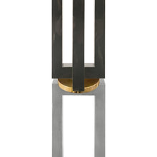 Load image into Gallery viewer, GUNMETAL AND CHROME COLUMN FLOOR LAMP WITH BRASS DETAIL - Flair Home Collection