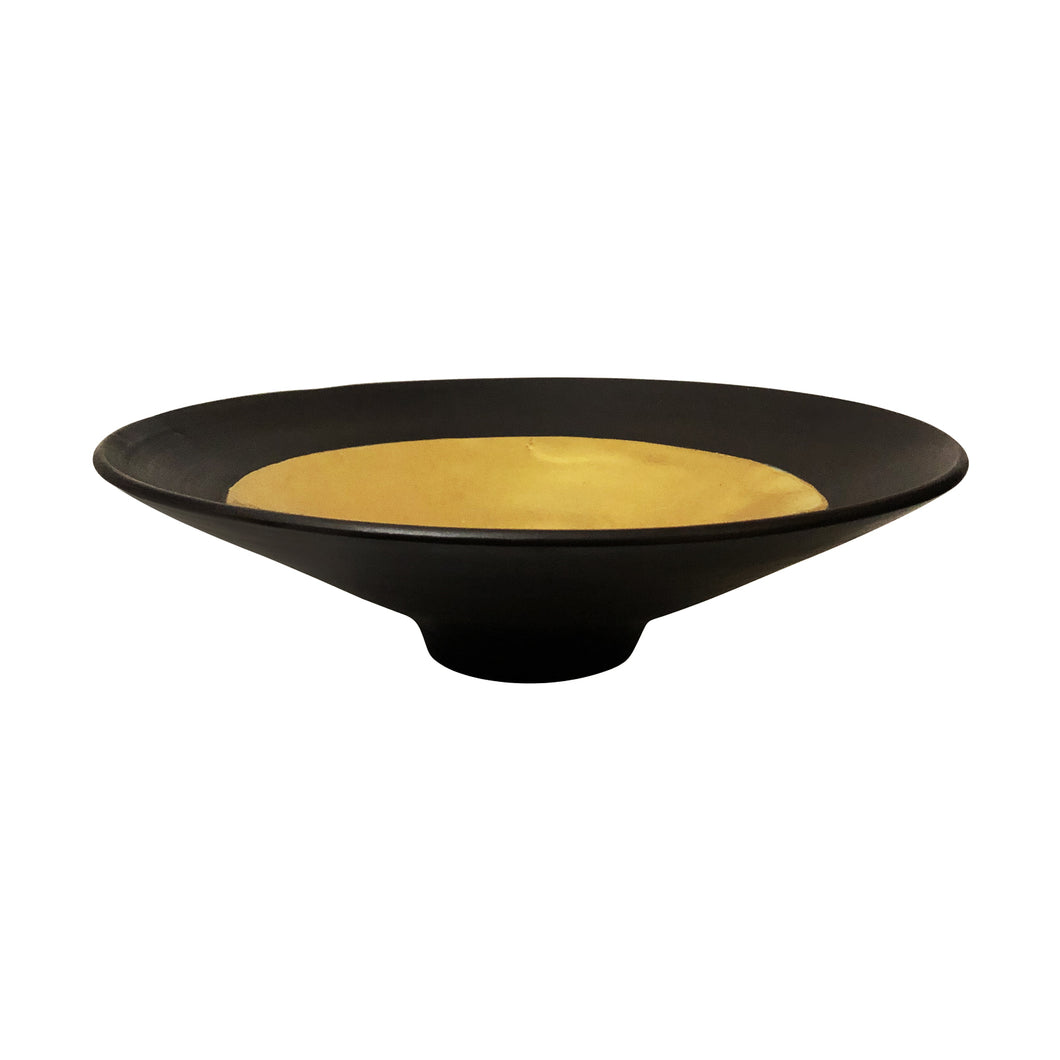 LOW CERAMIC BOWL WITH RUST GLAZE AND 22K GOLD LUSTRE INTERIOR - Flair Home Collection