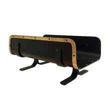 Load image into Gallery viewer, BLACK LEATHER AND BRASS MAGAZINE RACK/LOG HOLDER - Flair Home Collection