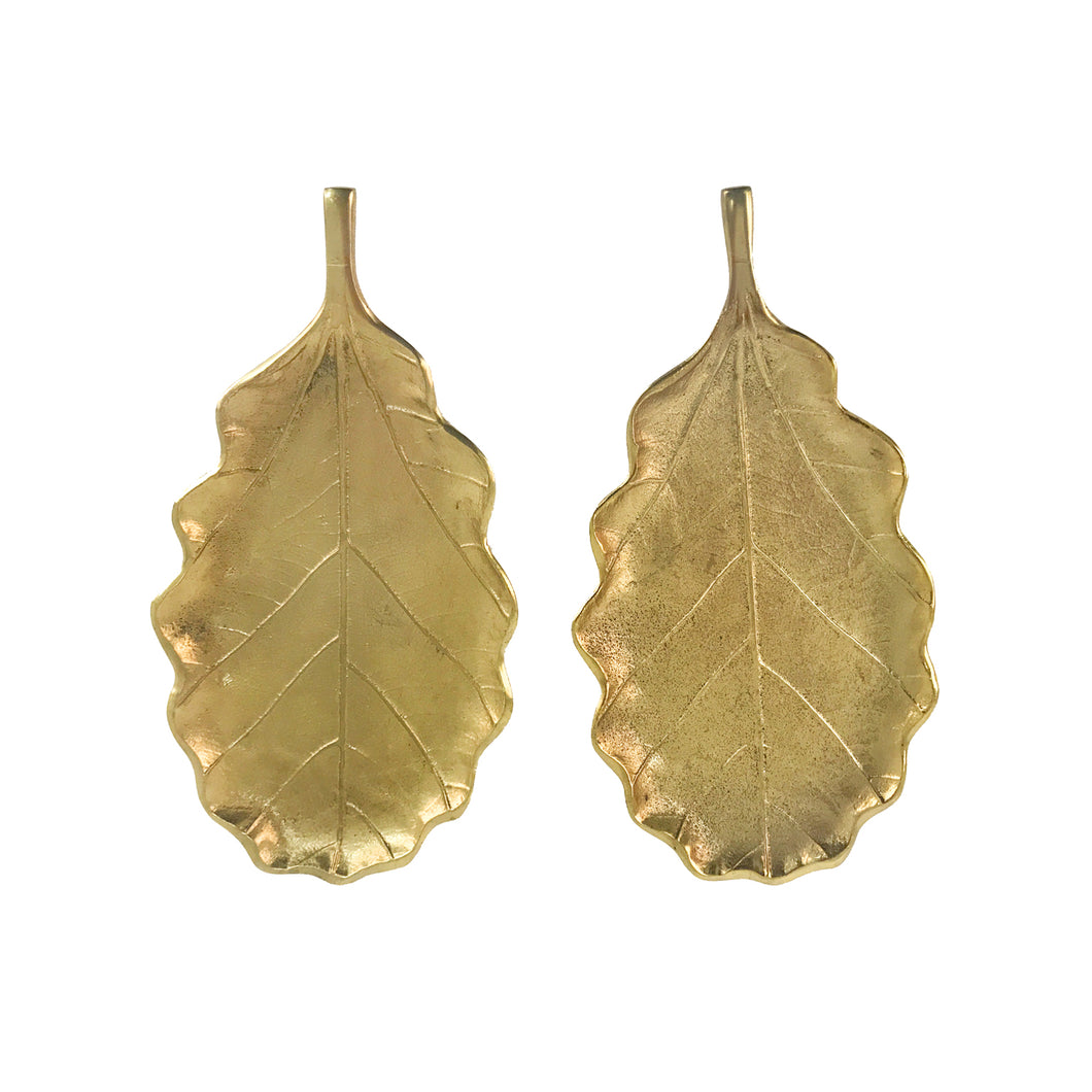 PAIR OF GILT METAL TOBACCO LEAF TRINKET TRAYS - Flair Home Collection